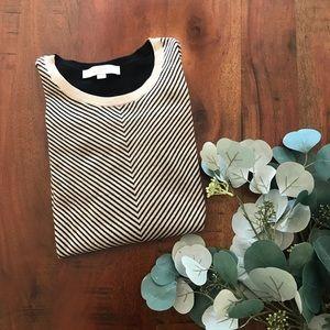LOFT Chevron Sweater with Semi Sheer Stripe Back